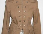 Heat Wave Vintage Steampunk Military Style Jacket w/ Peplum & Double Vents, Size M