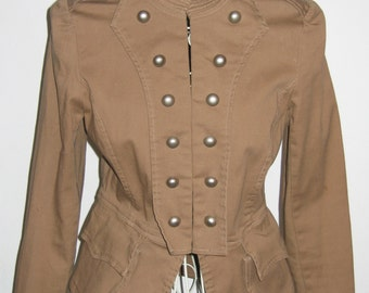 Heat Wave Vintage Steampunk Military Style Jacket w/ Peplum & Double Vents, Size M