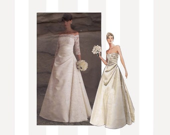 Vogue Wedding Dress Pattern 2842 Strapless Draped Bodice Princess Seams Optional Contrast Over Bodice Size 6 to 8 Bust 31 1/2 to 32 1/2