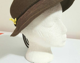 Vintage Janet Models Brown 40's Hat with Lily of the Valley