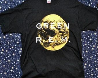 RARE Vintage 1988 80's R.E.M. Green T Shirt Made in USA