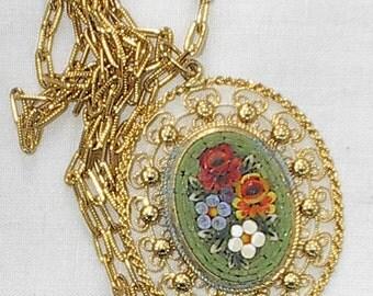 Handmade Italian Mosaic Necklace Vintage