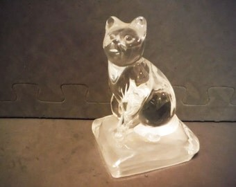 Vintage glass cat paperweight desk accessory kitten kitteh library decor figurine collectible