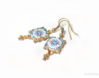Portuguese pattern tile earrings.  Turquaoise, blue marine andorange. Hydraulic tiles