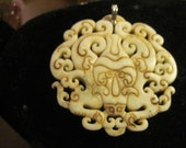 Vintage White Jade Vase Carved Swirled Pendant with Sterling Bale and Lots of Scroll Design
