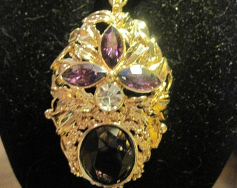 Tina Knowles Purple Cabochon with Clear Rhinestone Pendant/Brooch Glass and Rhinestones Necklace marked TK Miss Tina Collection