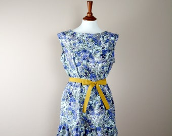 Flower dress, Tunic dress, Romantic dress, boho dress, bohemian tunic, blue dress, shift dress, womens dresses, womens clothing