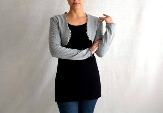 Grey cotton shrug, Long sleeved shrug, Shrug bolero, Women cardigan, Jersey top, Cardigan sweater, Grey shrug, Plus size,Yoga clothing