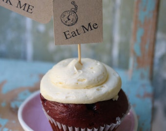 10 Hand Stamped Eat Me Cupcake Toppers ~ Tea Parties ~ Celebrations