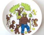 Smokey the Bear Collectible Plate, Fire Fighter, Nature, National Parks, Forest Fires, 1980s