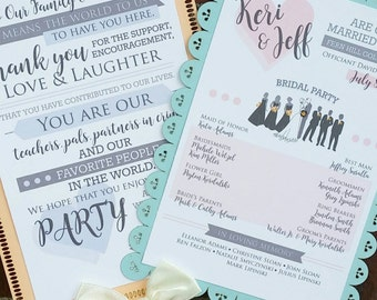 DIGITAL DOWNLOAD - Wedding Ceremony Programs Fans - Thank You For Coming - Bridal Party