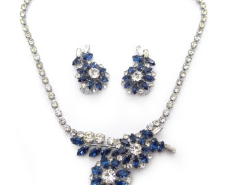 Vintage 1960s Blue & White Rhinestone Paste Floral Necklace Earrings Set