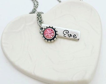Personalized Hand Stamped Birthstone Necklace - Girl Gift - Hand Stamped Jewelry - Girls Necklace - Birthstone Jewelry - Stamped Jewelry