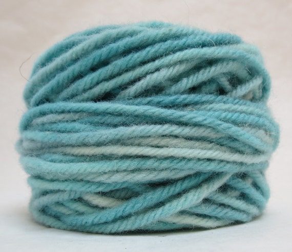 SEA MIST, 100% Wool, 2 oz. 43 yards, 4-Ply, Bulky weight or 3-ply Worsted weight yarn, already wound into cakes, ready to use. Made to order