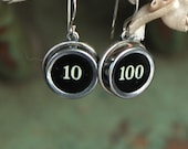 Typewriter key earrings, ...