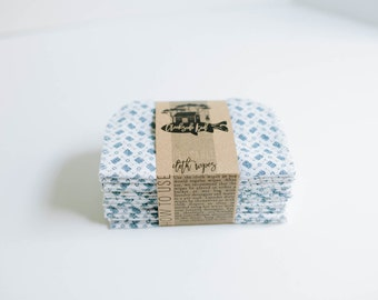 Baby Wipes Cloth Wipes Set of 15 - Baby Wipes - Reusable Flannel Wipes  - Blue Print