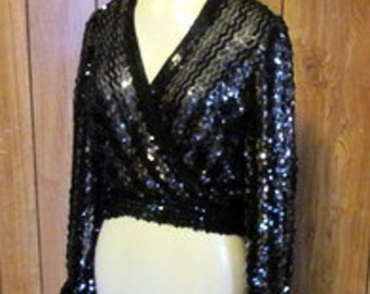 On Sale-Beautiful Sparkly SEQUIN Top in SILVER and BLACK