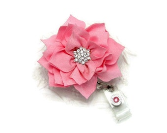 Flower Badge Reel - Big Blooms Badge Reel - Designer Badge Reels - ID Wear With Flair - Professional ID Wear - Pretty Badge Reels - Badge ID