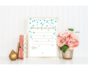 BABY shower printable games activity advice for new parents gold glitter blue aqua turquoise mint dot calligraphy cursive pdf jpg