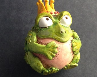 Frog Prince Polymer Clay Toad Christmas Ornament 303