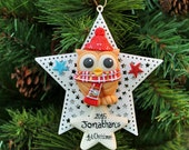 Baby's first Christmas owl ornament, personalized holiday ornament, baby's 1st Christmas, star decoration