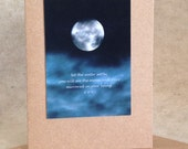 Moon quote card, rumi quotation, let the water settle, full moon greeting card, photo card, midnight blue & black night sky moon print,