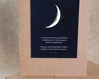 Moon quote card, rumi new moon quotation, Rumi greeting card, photo card, silver crescent moon, night sky moon print,