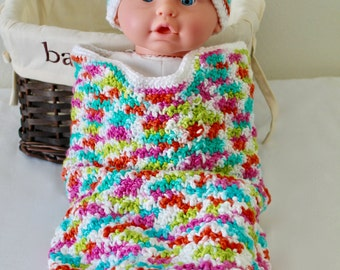 Baby Crochet Cocoon - Baby Swaddle Sack - 100% Eco-Friendly Cotton - Cocoon - Bright Multi Teddy Bear