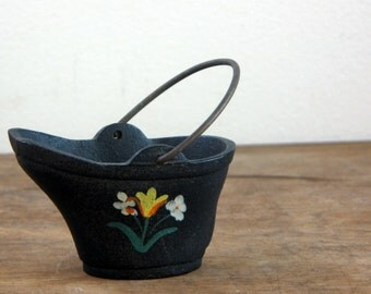 Miniature Cast Iron Coal Bucket with Painted Tulips