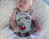 Parley Ray Winter Penguins Pinafore with Ruffled Baby Bloomers and Bracelet Diaper Cover Christmas Let it Snow