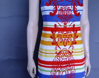 stripped shift dress, embroidered dress, 90s woven cotton bright dress