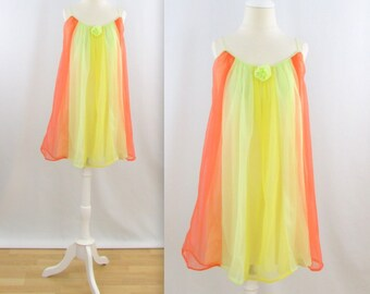 Citrus Rainbow Babydoll Nightie - Vintage 1960s Chiffon Nightgown in Yellow and Orange - Medium Large