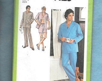 Vintage 1979 Simplicity 9125 Men's Pajamas, Button Front Pajama Top, And Either Long Pajama Bottoms Or Shorts, Size Large (42-44)