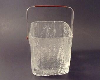 Glass Ice Bucket, Hoya, Ice Cube Shape,1970s