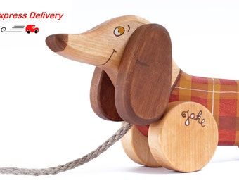 EXPRESS DELIVERY Wooden Toy Sausage Dog eco-friendly personalized kids pull toy