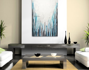 Large original painting contemporary abstract art blue and white 24 x 36 modern acrylic abstract painting by L.Beiboer