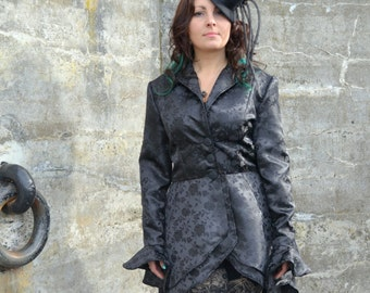 Gothic Steampunk Hi Low Elegant Goth black coat