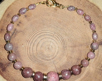 RHODONITE BRACELET Rosy Shades of High Grade Rhodonite from Canada 7.5 Inch for Average Wrist Stone of Confidence Self Esteem Forgiveness