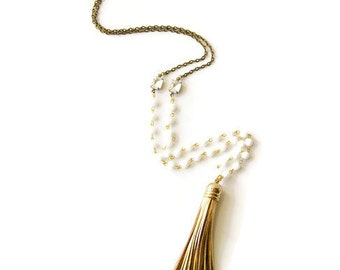 Long Leather Tassel Necklace Gold and White