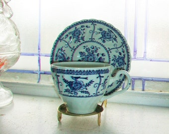 Blue and White Tea Cup and Saucer Indies Johnson Bros. English Ironstone Vintage 1960s