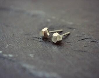 Faceted Sterling Silver Pyrite Earrings Geo Stud Mens Earrings Posts Hypoallergenic Rustic Minimalist Earrings