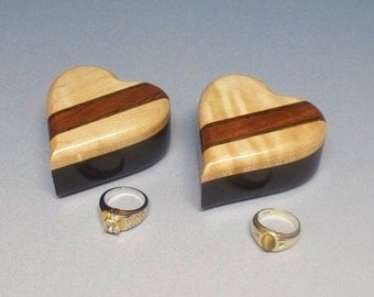 Pair of Ring Heart Boxes, Handmade in the USA, Ring Boxes for Twins