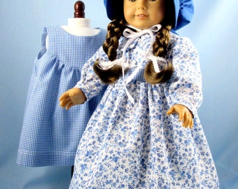 1800s Style Doll Dress, Apron and Bonnet - 18 Inch Doll Clothes - fits American Girl - Blue and White Floral Doll Ensemble