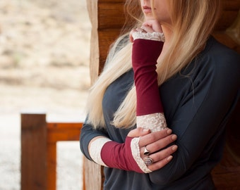 Fingerless Gloves, Lace Gloves, Burgundy Gloves, Maroon Arm Warmers, Womens Gift for Her, Gift Ideas, Wrist Warmers,Tattoo Cover Up Covers