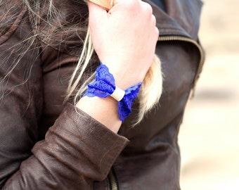 Lace Bracelet Bow Cuff Bracelet, Blue Bracelet Wide Cuff, Bow tie Bracelet, Faux Leather, Wide Womens Bridal Bracelet, Wrist Tattoo Cover Up