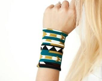 Aztec Wrist Cuff Bracelet, Wide Arm Band, Western Tribal Bohemian Wristband Tattoo Coverup, Boho Cuffs Tattoo Covers Gift, Fabric Jewelry