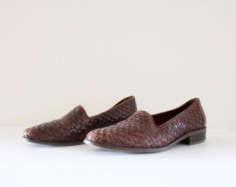Vintage Woven Leather Loafers Sz 7.5