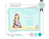 Mermaid invitation. Printable Birthday Party PDF file for 5x7 invitation. MYSTICAL Purple and Aqua Mermaid. Other color schemes available