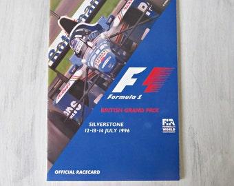 Vintage Formula 1 British Grand Prix Official Racecard - F1 - July 1996 - British Grand Prix