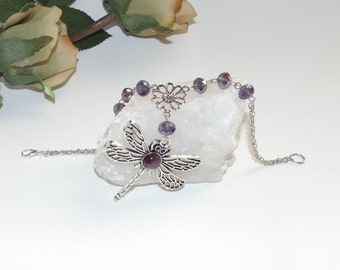 Dragonfly with silver and purple crystals - Rear view mirror hanging, car charm
